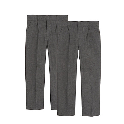 Debenhams - Pack of two boy+s grey generous fit pleated school trousers