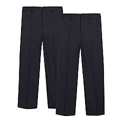 Debenhams - Boy's pack of two navy flat front school generous fit trousers