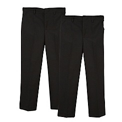 Debenhams - Boy's pack of two black flat front school generous fit trousers