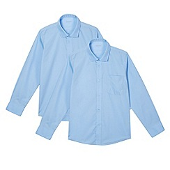 Debenhams - Pack of two boy's blue long sleeved generous fit school shirts