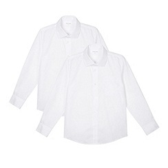 Debenhams - Boy's pack of two white school generous fit shirts