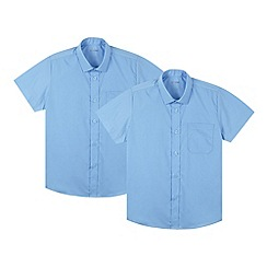 Debenhams - Pack of two boy's blue short sleeved generous fit school shirts