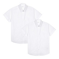 Debenhams - Pack of two boy's white school generous fit shirts