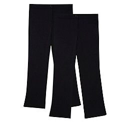 Debenhams - Pack of two girl's navy bootcut school trousers