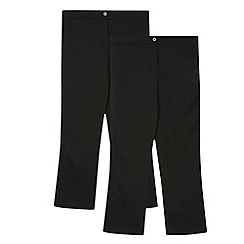 Debenhams - Pack of two girl's black bootcut school trousers