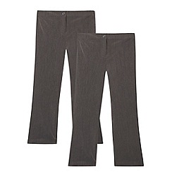 Debenhams - Pack of two girl's grey bootcut school trousers
