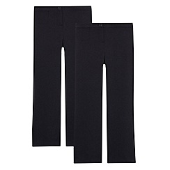 Debenhams - Two pack of girl's navy school generous fit trousers