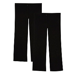 Debenhams - Pack of two girl's black school generous fit trousers