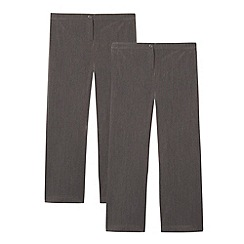 Debenhams - Pack of two girl's grey school generous fit trousers