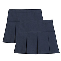 Debenhams - Pack of two girl's navy school skirts