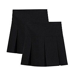 Debenhams - Pack of two girl's black school skirts