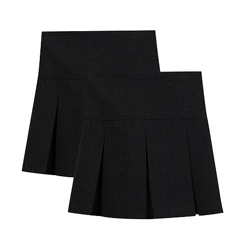 Debenhams - Pack of two girls+ black school skirts