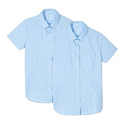 Debenhams - Pack of two girl's blue generous fit short sleeved school shirts