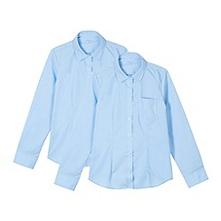 Debenhams - Pack of two girl's blue generous fit long sleeved school shirts