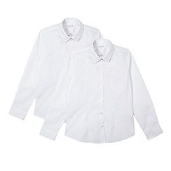 Debenhams - Girl's pack of two white school generous fit blouses