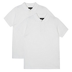 Debenhams - Pack of two boy's white school polo shirts
