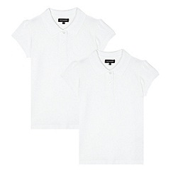 Debenhams - Pack of two girl's white cotton school polo shirts
