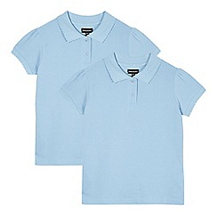 Debenhams - Pack of two girl's blue pure cotton school polo shirts