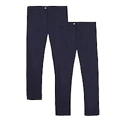 Debenhams - Pack of two girls' navy slim fit school trousers