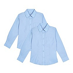 Debenhams - Set of 2 girls' blue long sleeve fitted school shirts