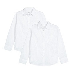 Debenhams - Set of 2 girls' white long sleeve fitted school shirts