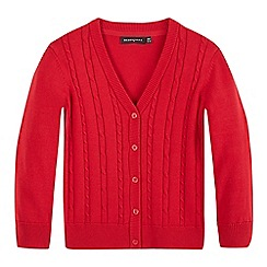 Debenhams - Girls' red cable knit cardigan