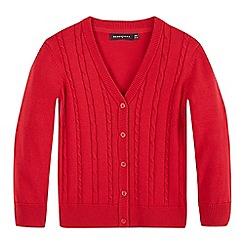 Debenhams - Girls' red cable knit cardigan