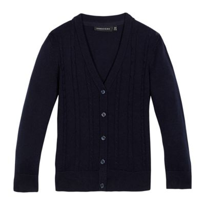 Debenhams Girls navy cable knit cardigan
