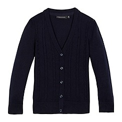 Debenhams - Girls' navy cable knit cardigan