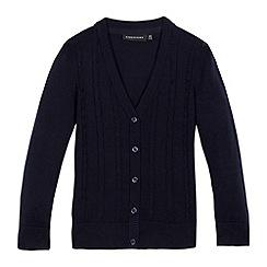 Debenhams - Girls' navy cable knit cardigan