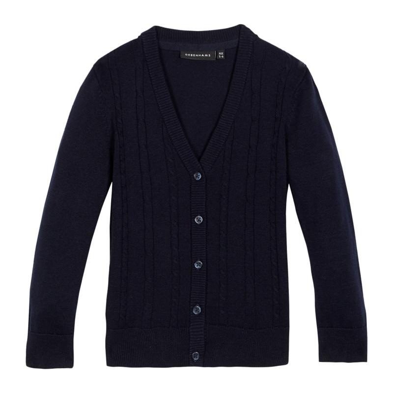 Debenhams Girls Navy (Blue) Cable Knit Cardigan, Size: Age