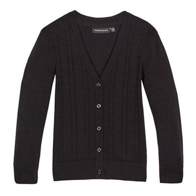 Debenhams Girls black cable knit cardigan
