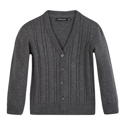 Debenhams Girls grey cable knit cardigan