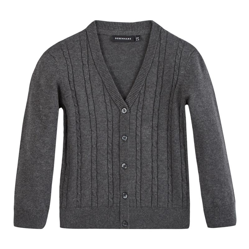 Debenhams Girls Grey Cable Knit Cardigan, Size: Age 4-5