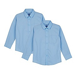 Debenhams - Pack of two children's blue slim fit shirts