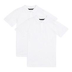 Debenhams - Pack of two boys' white school polo shirts