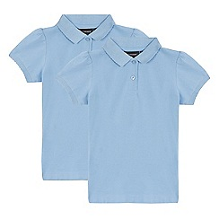 Debenhams - Pack of two girls' blue school polo shirts