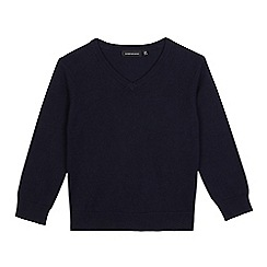 Debenhams - Children's navy V neck jumper