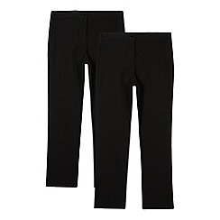 Debenhams - Pack of two girls' black bootcut trousers