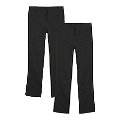 Debenhams - Pack of two girls' grey bootcut trousers