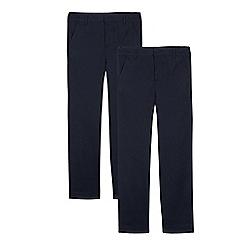 Debenhams - Pack of two boys' navy 'Shield+' trousers