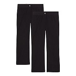 Debenhams - Pack of two girls' black generous fit school trousers