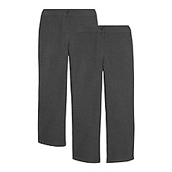 Debenhams - Girls' pack of two grey generous fit school trousers