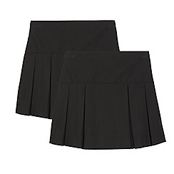 Debenhams - Girls' pack of two black kilt school skirts