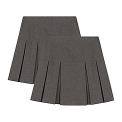 Debenhams - Girls' pack of two grey kilt school skirts