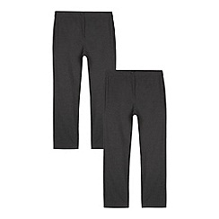 Debenhams - Pack of two girls' grey generous fit trousers