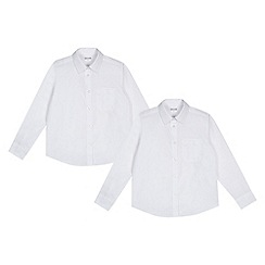 Debenhams - Pack of two girls' white generous fit long sleeved shirts