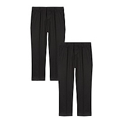 Debenhams - Pack of two boys' black pleated front generous fit trousers