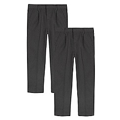 Debenhams - Pack of two boys' grey plated front generous fit trousers