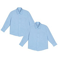 Debenhams - Pack of two boys' blue long sleeved school shirts